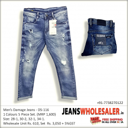Men Blue Distressed Stretchable Jeans