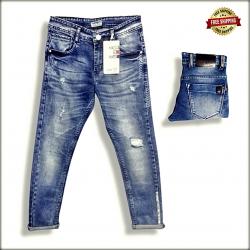 Men Blue Distressed Stretchable Jeans