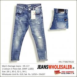 Distressed Stretchable Men Blue Jeans