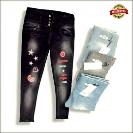 Women High Waist Patch jeans