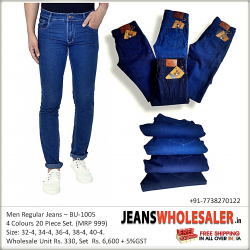 Men Blue Regular Fit Mid Rise Clean Look Jeans