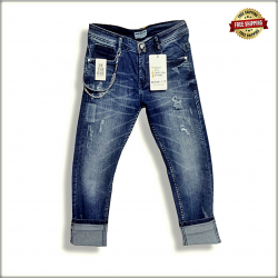 Distressed Stretchable Men Blue Jeans
