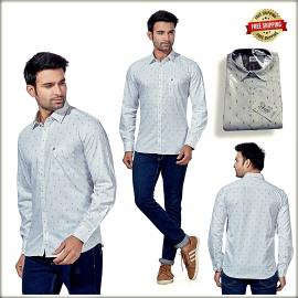 Men White Slim Fit Printed Casual Shirt VR1000