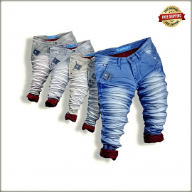 Funky Colour Wrinkled Mens Jeans Wholesale
