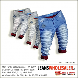 Mens Funky Colour Wrinkled Jeans Wholesale