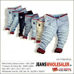 Men Wrinkled Funky Colour Jeans Wholesale