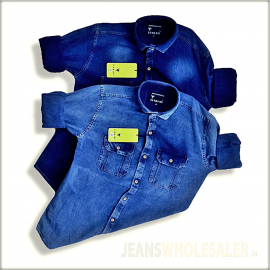 Men Blue & Navy Blue Denim Shirt WT2039