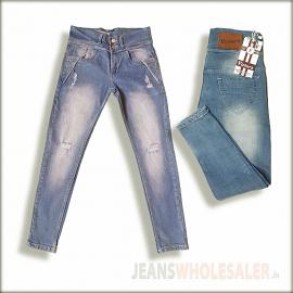 Women High Waist Damage Jeans