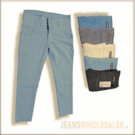 Women High Waist Dusty Colour Jeans