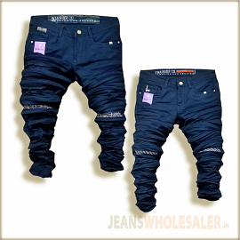 Black Repeat Jeans For Men WJ1300
