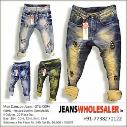 Men Damage Denim Jeans