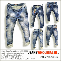 Men Cross pockets Denim Jeans