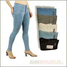 Women Dusty Colour High Waist Jeans
