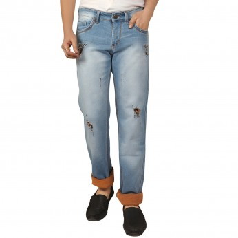 Dnim Vistara Men's Ice Blue Torn Jeans