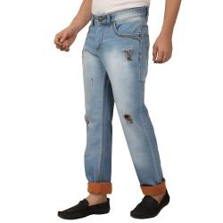 Dnim Vistara Men's Ice Blue Torn Jeans