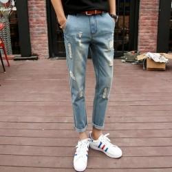 Royal Spider Sky Blue Torn Jeans For Men's