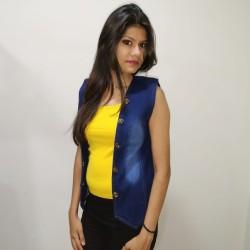 Denim Vistara Sleeveless denim jacket For Women's