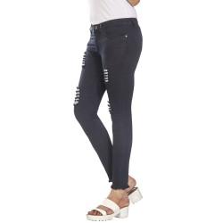 Denim Vistara Women's Torn Slim Fit Black Colored Jeans